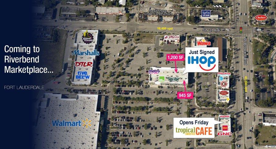Shopping center bird's eye view with tenant logos